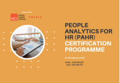 People Analytics for HR (PAHR) Certification, February 22-25 2021 Virtual Edition