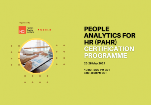People Analytics for HR (PAHR) Certification 25-28 May 2021