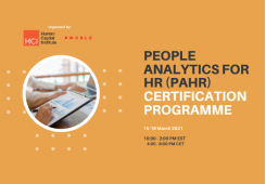 People Analytics for HR (PAHR) Certification, March 15-18 2021 Virtual Edition